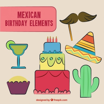 Hand drawn mexican birthday elements