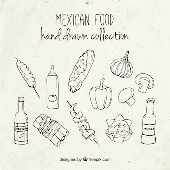 Hand drawn mexican foodstuffs