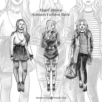 Hand-drawn models wearing autumnal clothes