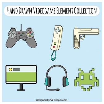Hand drawn modern accessories videogame