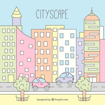 Hand drawn modern city background in pastel colors