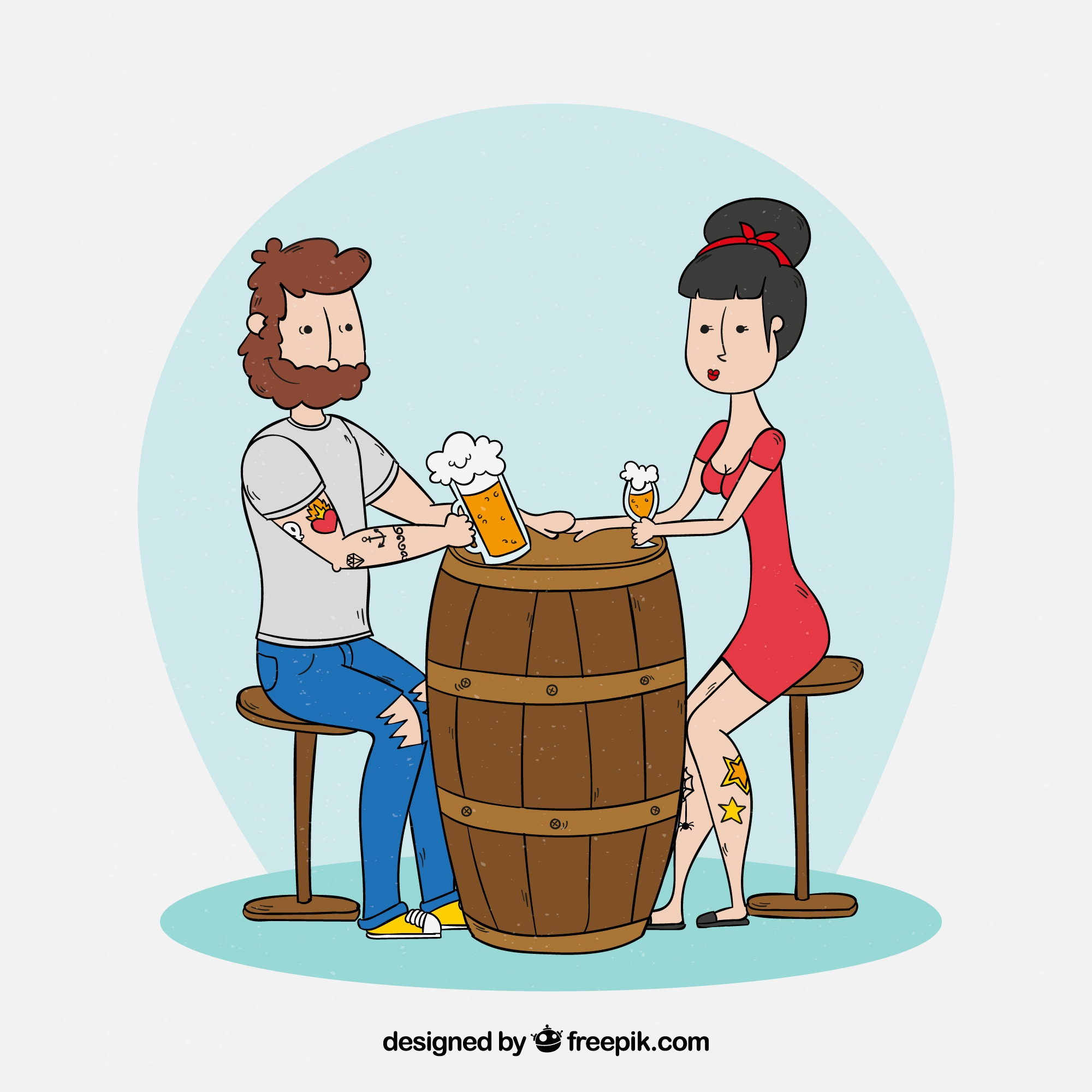 Hand drawn modern couple drinking beer