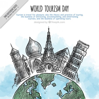 Hand drawn monuments background for the world tourism day
