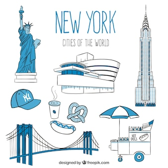 Hand drawn monuments of New York