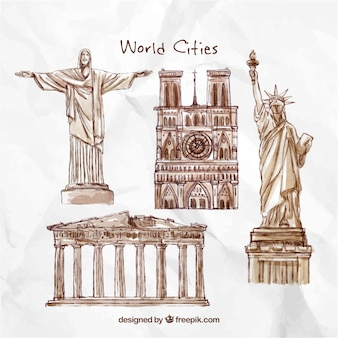 Hand drawn monuments of the world