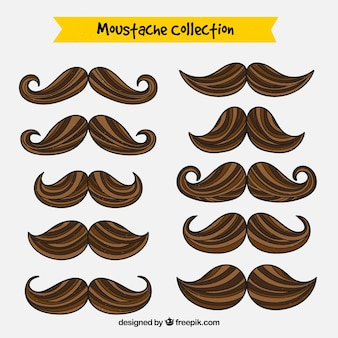 Hand drawn moustache collection