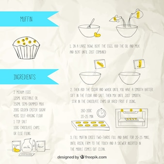 Hand drawn muffin recipe