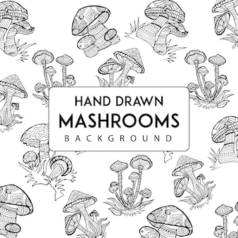 Hand drawn mushroom background