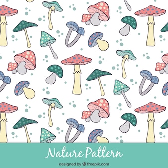 Hand drawn mushrooms pattern