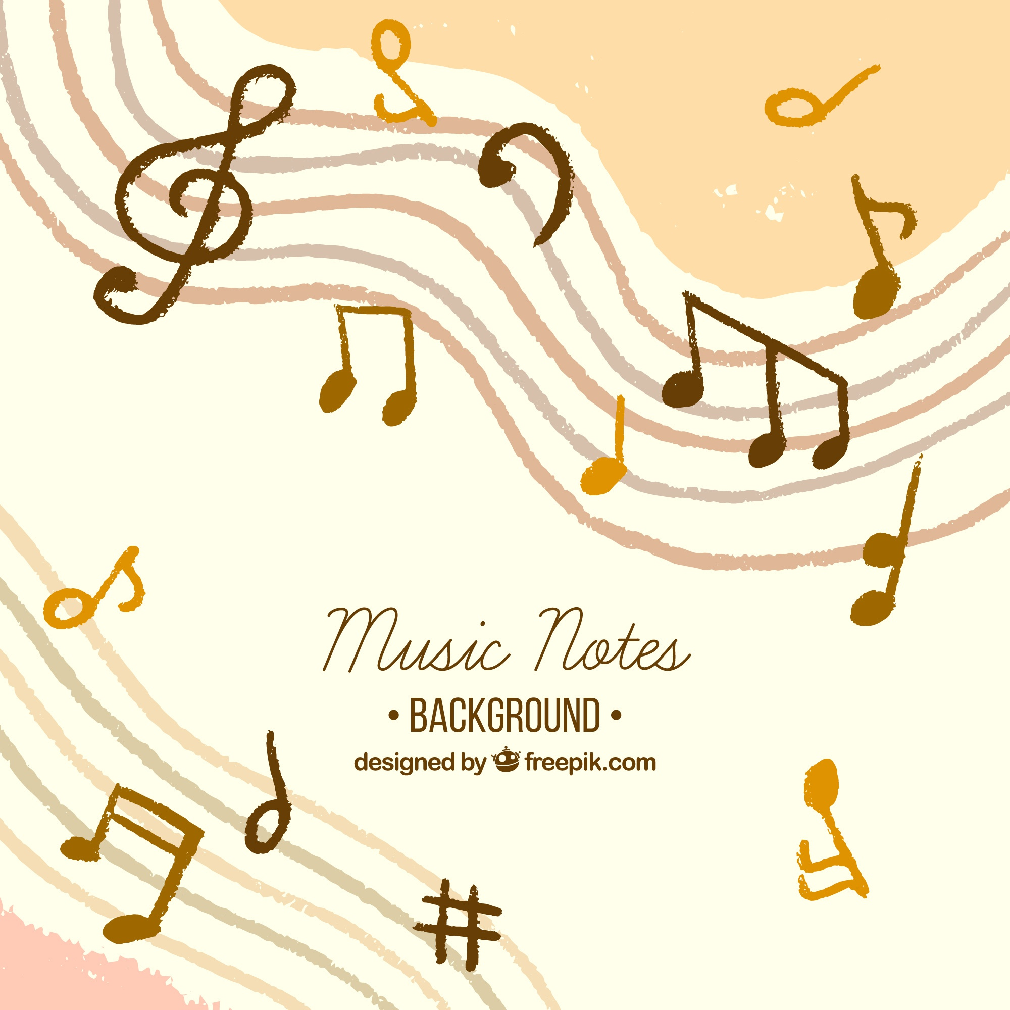Hand drawn music notes background