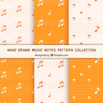 Hand drawn music notes pattern collection