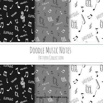 Hand drawn music notes pattern