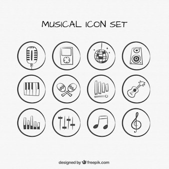 Hand drawn musical icons set