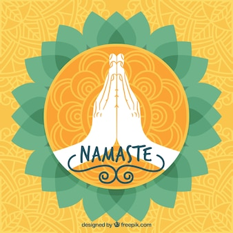 Hand drawn namaste golden greeting background