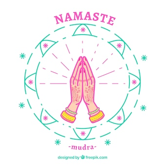 Hand drawn namaste greeting background