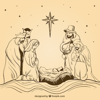 Hand-drawn nativity scene with wise men