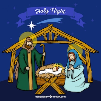Hand drawn nativity scene