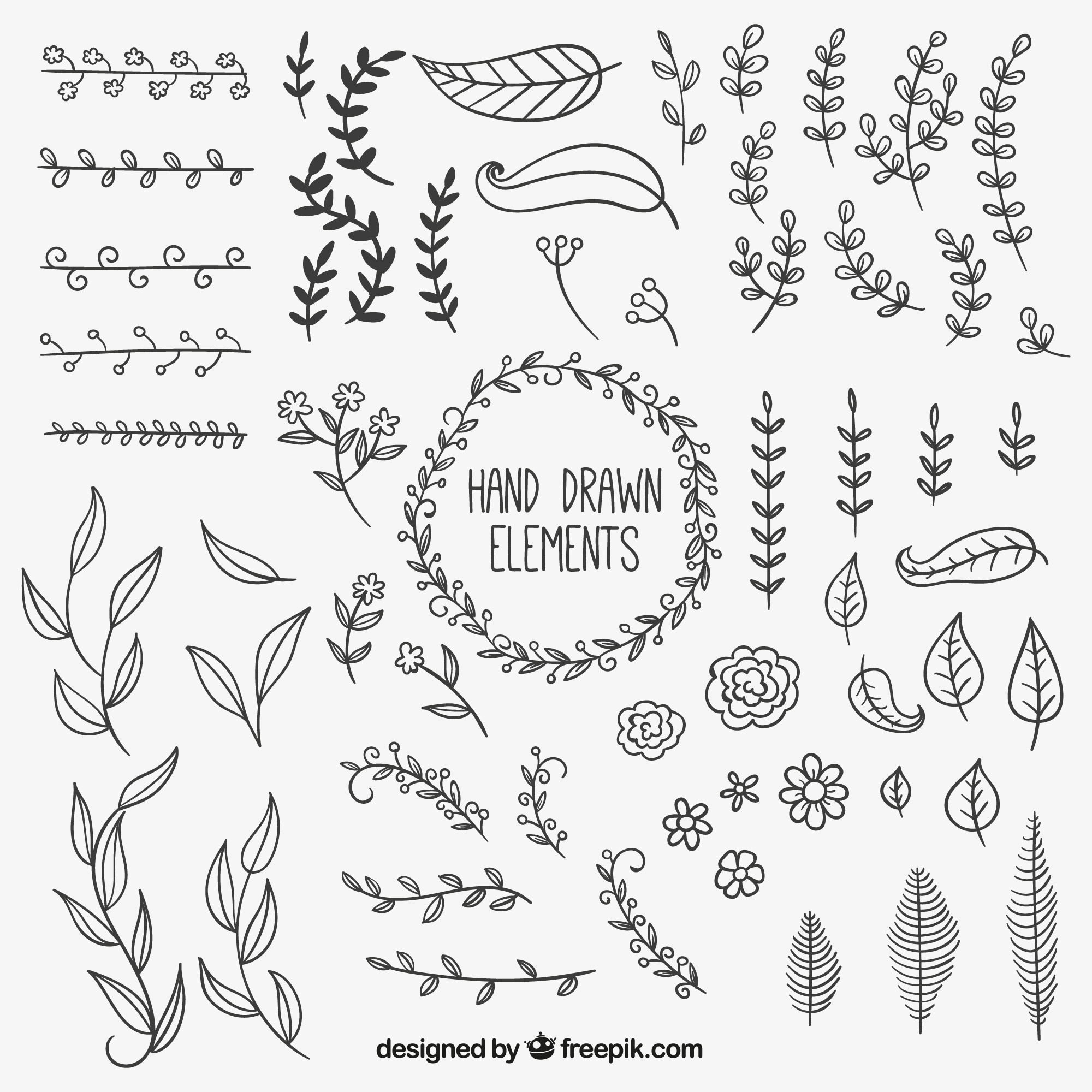 Hand drawn natural decoration elements