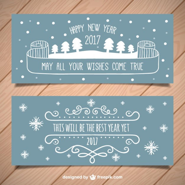 Hand drawn new year party banners