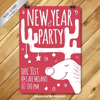 Hand drawn new year party poster with a reindeer