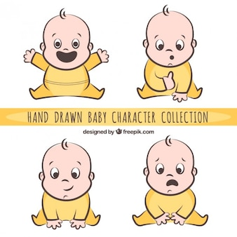 Hand drawn nice baby character pack