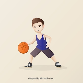Hand drawn nice basketball player