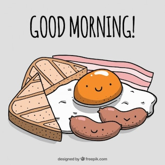 手は午前中に素敵な朝食を描か