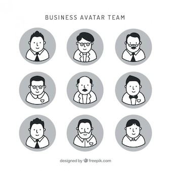 Hand drawn nice business team avatars