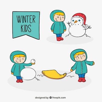 Hand drawn nice children with winter clothes