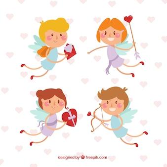 Hand drawn nice cupid characters