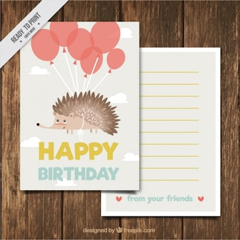 Hand drawn nice hedgehog birthday card with balloons