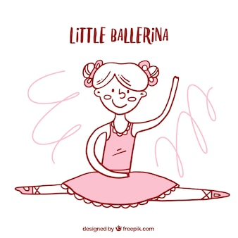 Рисованной миленькая балериной