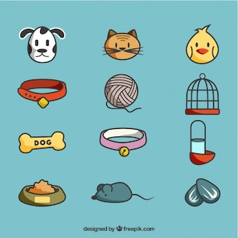 Hand drawn nice pet elements pack