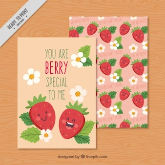 Hand drawn nice strawberries romantic cards