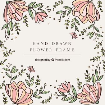 Hand drawn of frame with flowers