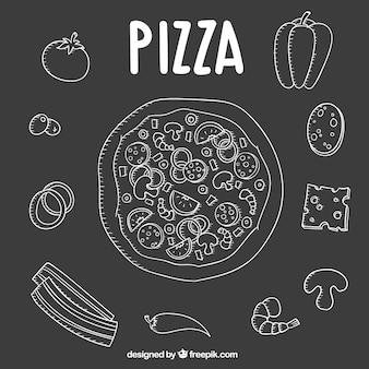 食材を使ったピザの手描き