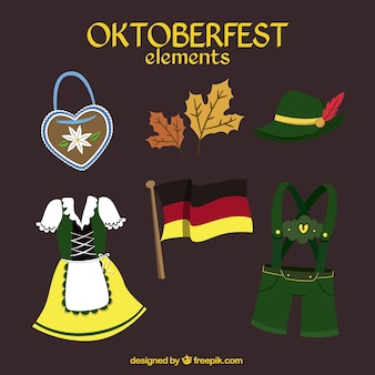 hand drawn oktoberfest elements set