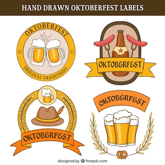 Hand-drawn oktoberfest labels