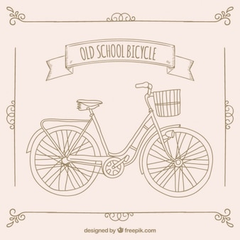 hand drawn old school bicycle