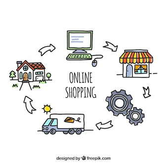 Hand drawn online shopping concept