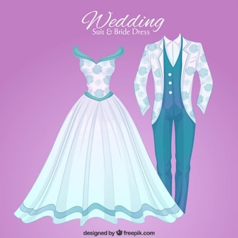 Hand drawn opulent wedding suit and brid dress