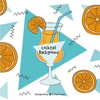 Hand drawn orange cocktail memphis background