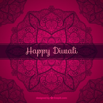 Hand drawn ornamental background of happy diwali