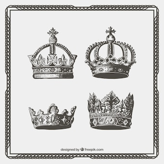 Hand drawn ornamental crowns