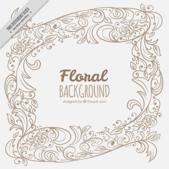 Hand drawn ornamental floral background