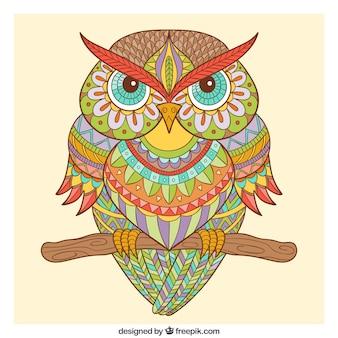 Hand drawn ornamental owl in ethnic style