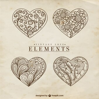 Hand drawn ornamental vintage elements