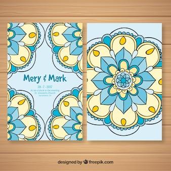 Hand drawn ornamental wedding invitation