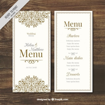 Hand drawn ornamental wedding menu