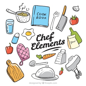 Hand-drawn pack of chef elements